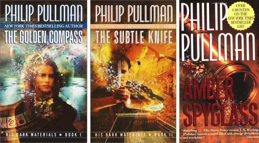 "Covers of ""The Golden Compass,"" ""The Subtle Knife,"" and ""The Amber Spyglass."""