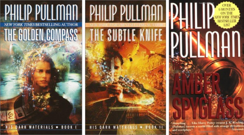 """Covers of """"The Golden Compass,"""" """"The Subtle Knife,"""" and """"The Amber Spyglass."""""""