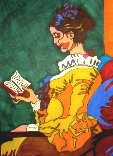 Drawing of a woman reading.