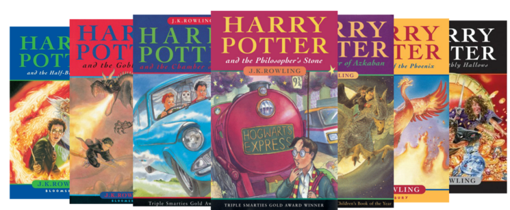 Covers of the Harry Potter book series by J. K. Rowling