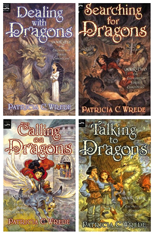 """Book covers of """"Dealing with Dragons,"""" """"Searching for Dragons,"""" """"Calling on Dragons,"""" and """"Talking to Dragons"""" by Patricia C. Wrede"""